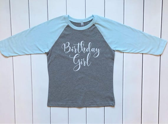 Raglan Birthday Shirt For Girls Gray And Aqua