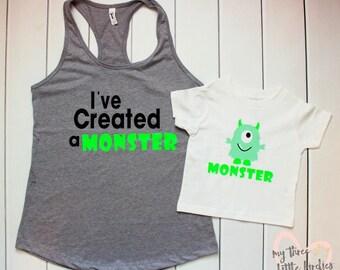 Mommy and Me Monster Shirt Set, I Created a Monster, Monster Toddler Shirt, Cute Monster Shirt, Mommy Monster, Monster Birthday Shirt
