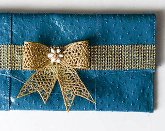 Teal and Gold Envelope Clutch