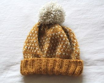 55e2750e57d Knit Beanie Hat in Mustard Yellow    Winter Hat with Pom Pom