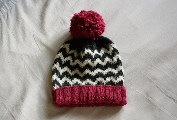 249166b4 Pink and Dark Grey Chevron Knitted Beanie Hat // Knit Winter | Etsy