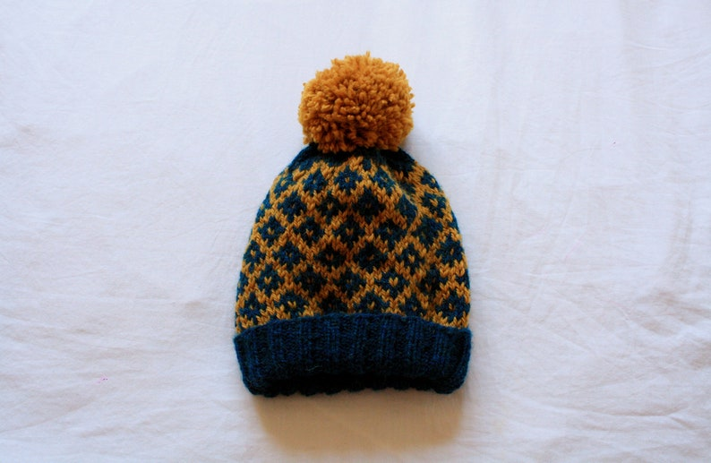 b3e45df5bc367 Ocean Blue and Mustard Yellow Beanie Hat    Winter Hat with
