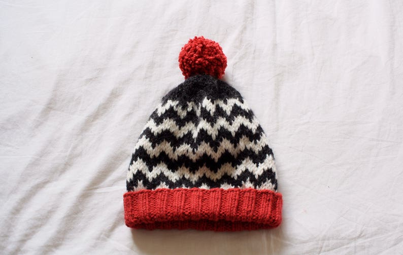 aa11941b075658 Twin Peaks Knit Beanie Hat Red White and Black // Chevron | Etsy