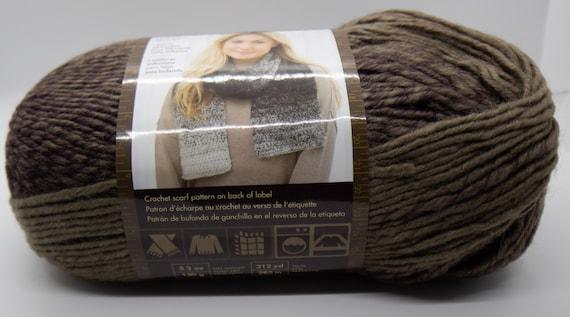 Lion Brand Scarfie Yarn-Taupe//Eggplant