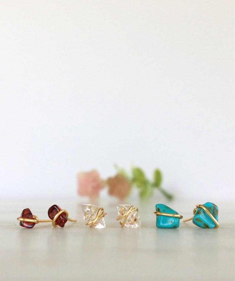 380bbe208 Stud Earrings Trio Gold Filled Herkimer Diamond & Gemstone | Etsy