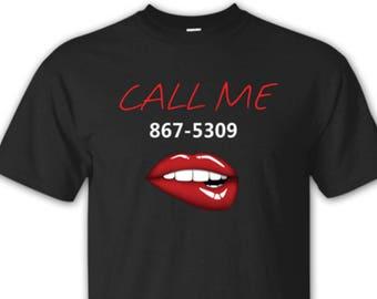e354ce1e6a 80s Shirt, Call me Tee, 867-5309 Shirt, 80s Shirt, Lips Shirt, Funny Shirt  for Women or Men, Gift Idea, Plus Sizes, Black Shirt, Retro Shirt