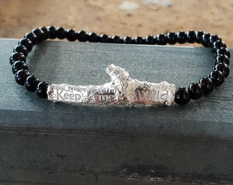 Keep Me Wild Bracelet - Sterling Silver and Black Agate
