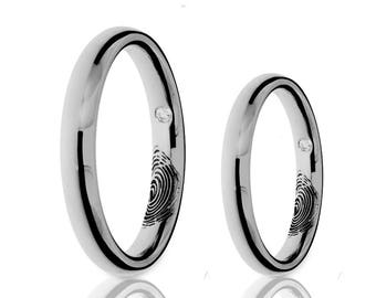 Love Mark Wedding Bands - 18K White Gold