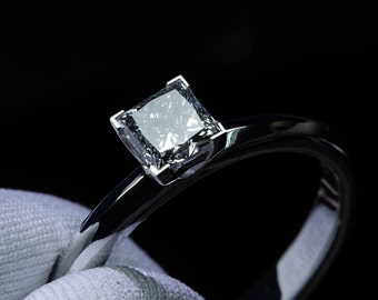 0.75 Ct Princess Cut Engagement Ring in 18K White Gold