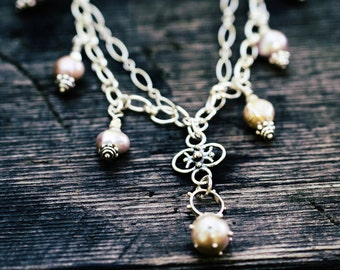 Pink Pearls and Sterling Chain Necklace