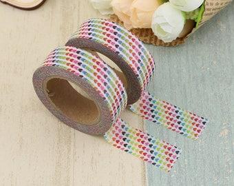 Washi Tape - Decorative Tape - Paper Tape - Planner Tape - Mini Rainbow Hearts - Heart Washi