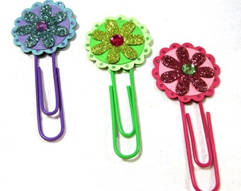 Planner Paper Clip - Altered Paper Clip - Planner Clip - Planner Bookmark - Planner Accessory - Glitter Flower Paper Clip