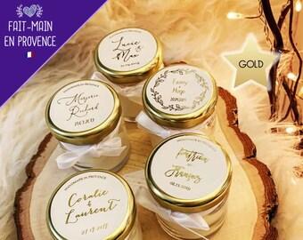 Bougies Personnalisées Parfumées Mariage - Cadeaux invités (écritures GOLD)