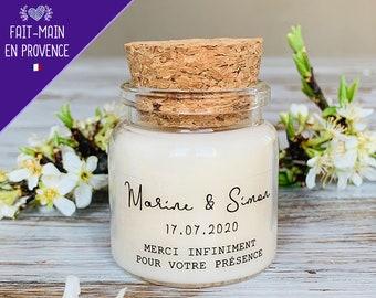 Bougies personnalisées mariage 50ml - cadeaux invités de mariage, baptême - Modèle Minimaliste Marine