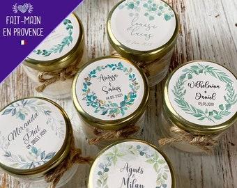 Bougies personnalisées parfumées - cadeaux invités de mariage, baptême - Modèle Couronne Eucalyptus Lierre Feuillage