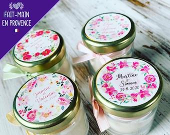 Mini bougies personnalisées parfumées couronnes florales - Cadeaux invités de mariage
