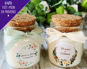 Cadeaux invités mariage bohème   Bougies personnalisées mariage baptême 50ml