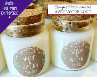 Cadeaux invités mariage bougies parfumées personnalisées avec votre logo 50ml avec bouchon liège