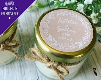Bougies cadeau invités mariage, baptême parfumées personnalisées avec votre logo