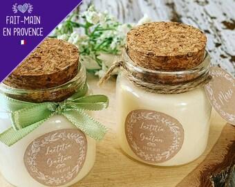 Bougies personnalisées mariage baptême 50ml - Cadeaux invités parfumés personnalisés avec votre logo