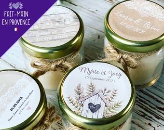 Bougies Cadeaux invités mariage personnalisés - Bougies Parfumées - Modèle Champêtre Rustique