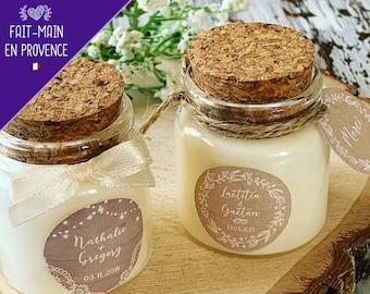 Cadeaux invités mariage bougies parfumées personnalisée avec message 50ml avec bouchon liège
