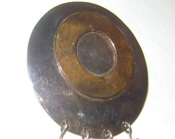 vintage 925 MEXICO Silver and Copper Bullseye with Dangles Pendant Pin - Original patina