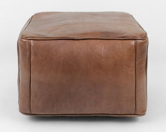 Brown Leather Pouf Etsy