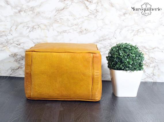 Fine Yellow Leather Pouf Moroccan Leather Pouf Leather Ottoman Leather Chair Moroccan Leather Ottoman Yellow Ottoman Machost Co Dining Chair Design Ideas Machostcouk