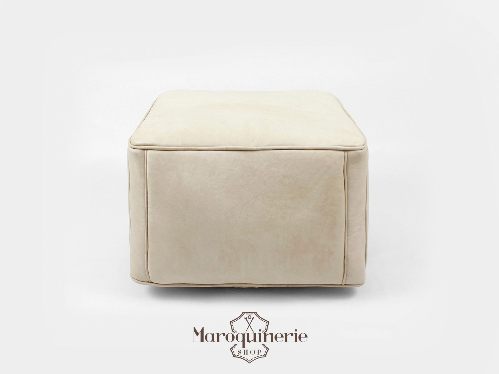 White Leather Pouf Moroccan Leather Pouf Leather Ottoman