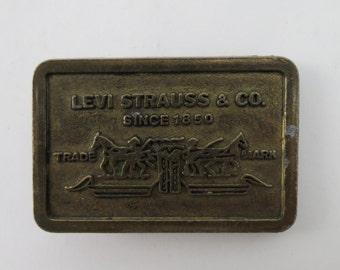 Vintage Levi Strauss en laiton plaqué ceinture boucle 2 » petit 471235e2045