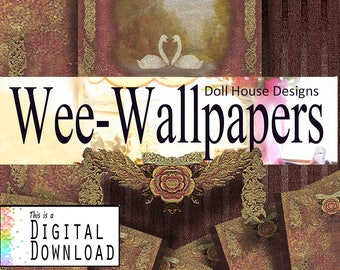 Download, Digital, Doll House, Wall Paper, Swan Tapestry, Miniature, Prints, DIY, Classic, Antique