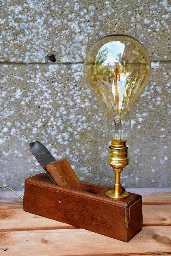 gustave lampes rabot wood plan lamp grosse ampoule style etsy. Black Bedroom Furniture Sets. Home Design Ideas