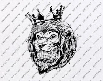 ad4fad723 Lion King Svg File-Lion King Original Svg Design-Animals Svg-Clip art-Lion Tattoo  Vector Graphics-Svg For Cricut-Svg For Silhouette-DXF–EPS