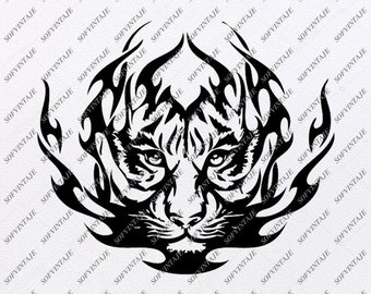 12b2ea708 Tiger Svg File - Tiger Svg Design - Clipart - Tattoo Svg File - Animals Png  - Vector Graphics - Svg For Cricut - For Silhouette - DXF - EPS