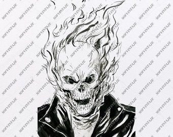 c35106789 Ghost rider Svg File-Ghost rider Original Svg Design Tattoo Svg- Clip  art-Vector Graphics-Svg For Cricut-Svg For Silhouette-DXF-EPS