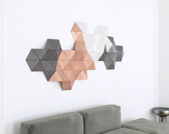 Geometric wood art, copper wall art, 3d wall sculpture, 3d wall art, wood wall art design, wood wall panel art