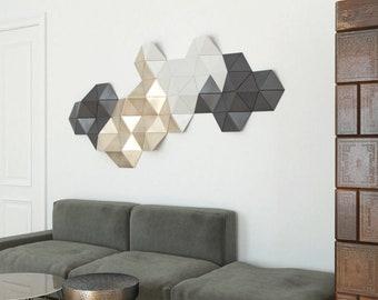 Geometric wood art, gold wall decor, 3d wall sculpture, wood wall art, wood wall art design, wood wall decoration
