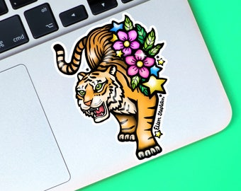 Tiger Sticker, Vinyl Sticker, Laptop Stickers, Cherry Blossom, Journal Stickers, Skateboard Stickers, Cool Stickers, Decal, Gift For Her