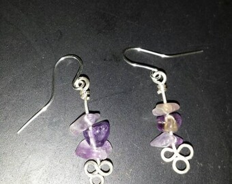 Sterling silver and purple amethyst earrings