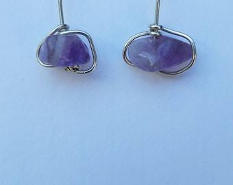 Light purple amethyst and Sterling silver short drop earrings