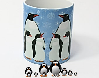 Penguins, Penguins Mug, Snowflakes and Penguins, Penguins coffee mug