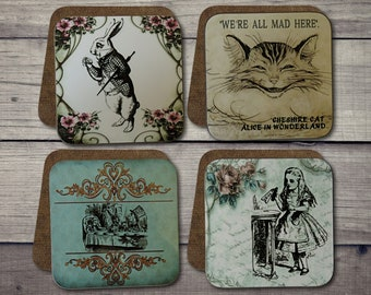 alice in wonderland button cabochon cab charm black white bunny cat mad hatter