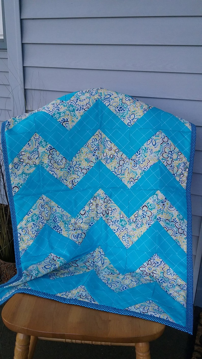 Chevron Baby Blanket Blanket Blue Chevron Quilt Chevron Baby Quilt Lap Quilt Baby Blanket