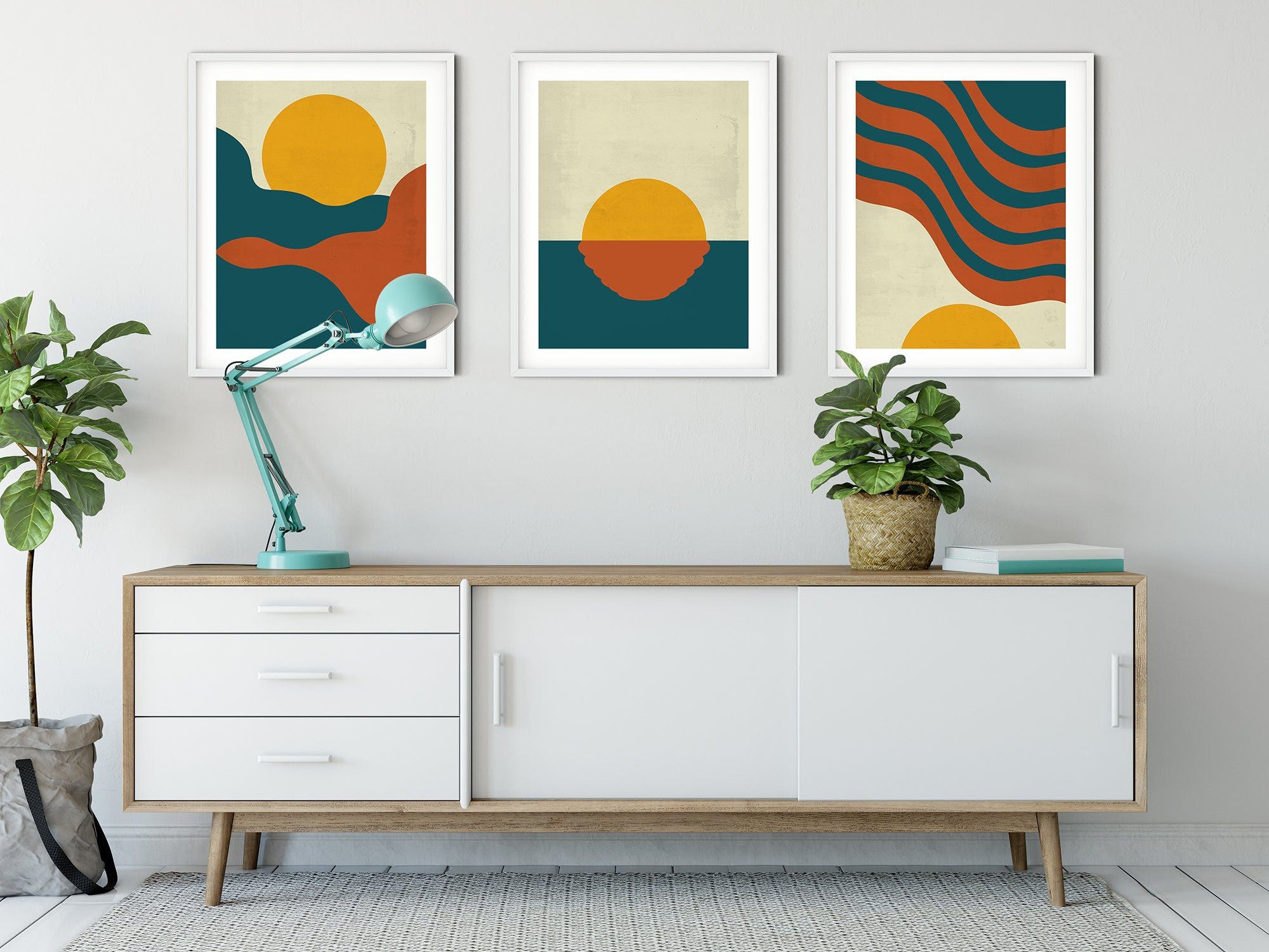 Mid Century Modern Art, Red, Blue, and Yellow Mountain, Ocean, and Sun  Landscape, Set of 20 Prints