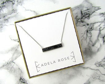 Black Marble Bar Necklace, Marble Necklace, Pendant Necklace, Dainty Necklace,Everyday Jewelry, Layering Necklace, Statement Necklace