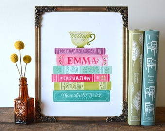 Jane Austen Book Stack Spines Illustration | 8x10 Hand Lettered and Illustrated Book Quote Art Print | Pride and Prejudice | Emma