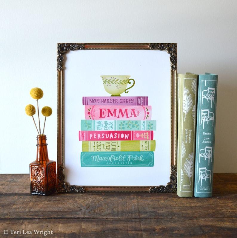 Jane Austen Book Stack Spines Illustration 8x10 Hand image 0