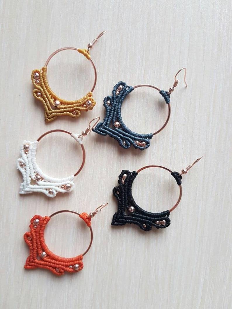 Handmade Earrings Handmade Macrame Dangle Earring,Macrame Jewelry,Micro Macrame,Dainty Earring Macrame Earrings Asymmetric Hoops Earring