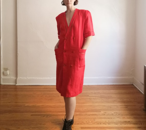 vintage cherry red linen overcoat or dress // made
